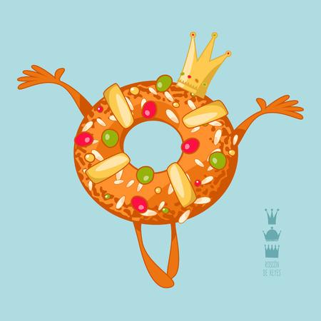 Roscon de Reyes (King's cake). Spanish traditional Christmas pastry. Vector illustration Иллюстрация
