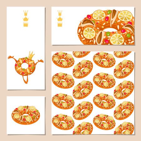 スペインの伝統的なクリスマス菓子と 4 の普遍的なグリーティング カードのセットです。Roscon ・ デ ・ レジェス (キン €™ s ケーキ)。テン
