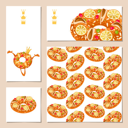 Set of 4 universal greeting cards with Spanish traditional Christmas pastry. Roscon de Reyes (King's cake). Template. Vector illustration.