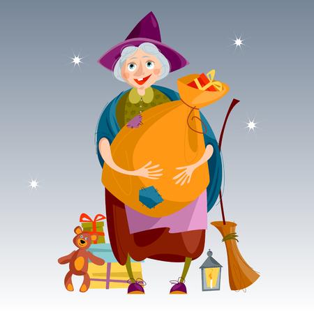 Befana. Oude vrouw met zak van giften en een bezem. Italiaanse kersttraditie. Italiaanse kersttraditie. Vector illustratie.