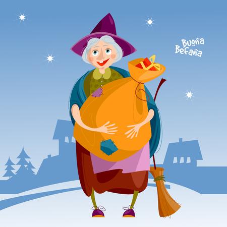 Befana. Anciana con bolsa de regalos y una escoba. Tradición navideña italiana Ilustración vectorial Ilustración de vector