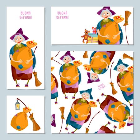 Conjunto de 4 tarjetas de felicitación de Navidad con Befana. Tradición navideña italiana Ilustración del vector Be