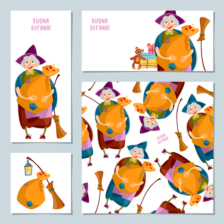 Set of 4 Christmas greeting cards with Befana. Italian Christmas tradition. Vector illustrationBe