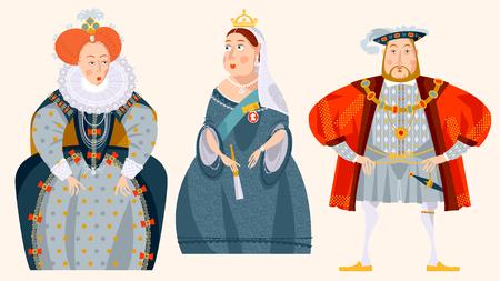 History of England. Queen Elizabeth I, King Henry VIII, Queen Victoria. Vector illustration. Stock Illustratie