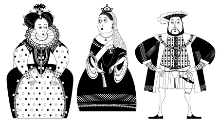 History of England. Queen Elizabeth I, King Henry VIII, Queen Victoria. Black and white. Vector illustration. Vettoriali
