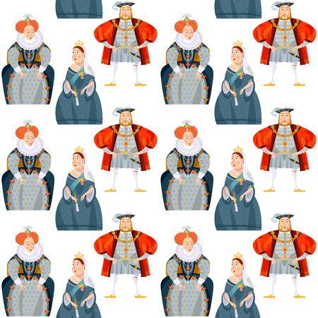 History of England. Queen Elizabeth I, King Henry VIII, Queen Victoria. Seamless background pattern. Vector illustration Illustration