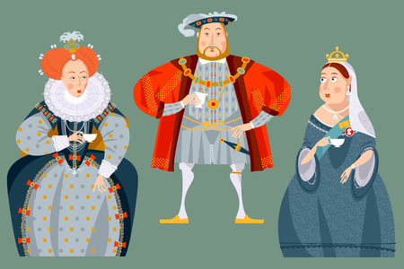 History of England. British historical figures drinking tea. Queen Elizabeth I, King Henry VIII, Queen Victoria. Vector illustration.