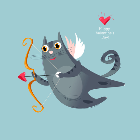 A flying cupid cat with a bow and arrow. Happy Valentine's day. Vector illustration