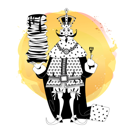 King wearing a crown and royal mantle, holds a stack of pancakes. Happy pancake Day! Black and white. Vector illustration  Illustration