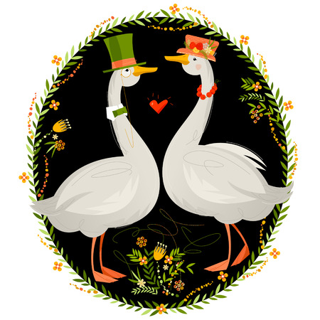 Gander wearing a top hat and a goose in a hat with flowers. Geese in hats. Vector illustration Иллюстрация