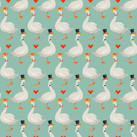 Gander wearing a top hat and a goose in a hat with flowers. Geese in hats. Seamless background pattern. Vector illustration