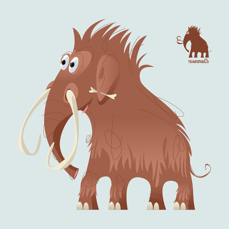 Cute prehistoric mammoth. Ice age. Vector illustration