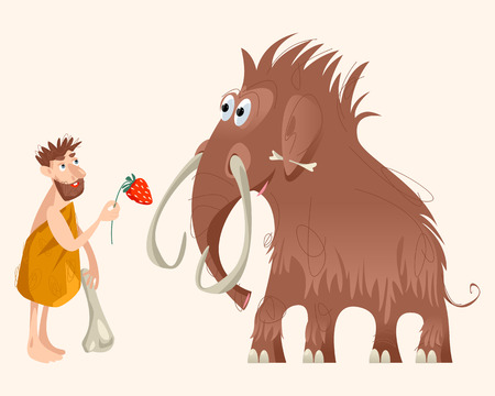 Caveman and mammoth. Ice age. Vector illustration