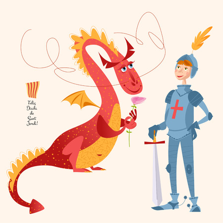 Dragon with a rose and knight with sword. Diada de Sant Jordi (the Saint George's Day). Dia de la rosa (The Day of the Rose). Dia del llibre (The Day of the Book). Traditional festival in Catalonia, Spain. Vector illustration.  向量圖像