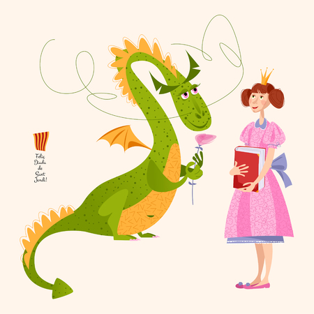 Princess with a book  and dragon with a rose.Diada de Sant Jordi (the Saint George's Day). Dia de la rosa (The Day of the Rose). Dia del llibre (The Day of the Book). Traditional festival in Catalonia, Spain. Vector illustration.