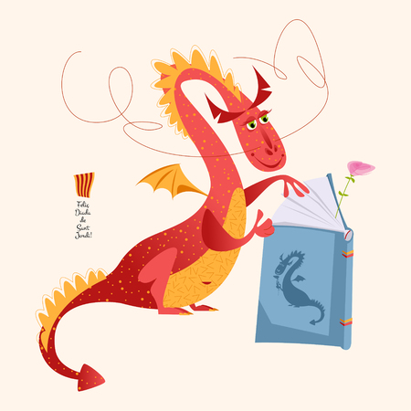 Red dragon reading a book. Diada de Sant Jordi (the Saint George's Day). Traditional festival in Catalonia, Spain. Vector illustration.