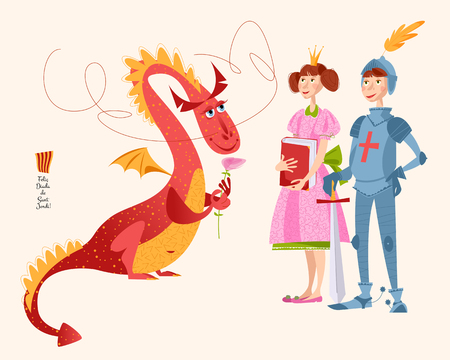 Princess with a book, knight with a sword and dragon a rose. Diada de Sant Jordi (the Saint George's Day). Dia de la rosa (The Day of the Rose). Dia del llibre (The Day of the Book). Traditional festival in Catalonia, Spain. Vector illustration.