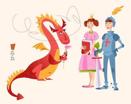 Princess with a book, knight with a sword and dragon a rose. Diada de Sant Jordi (the Saint George's Day). Dia de la rosa (The Day of the Rose). Dia del llibre (The Day of the Book). Traditional festival in Catalonia, Spain. Vector illustration. Archivio Fotografico - 96220745