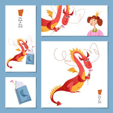 Set of universal cards with princess and dragon. Diada de Sant Jordi (the Saint George's Day). Congratulations. Template. Vector illustration
