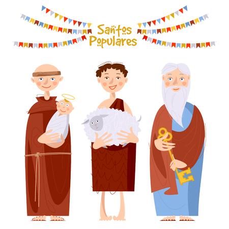 "Portuguese festival ""Santos Populares"" (Popular Saints' ). Santo Antônio, São João, São Pedro (Saint Anthony, Saint John, Saint Peter). Vector illustration."