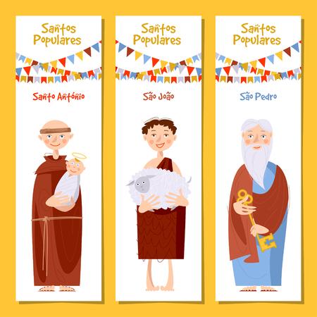 Set of 3 universal greeting cards  and bookmarks with Saint Anthony, Saint John, Saint Peter (Santo Antônio, São João, São Pedro). Template. Vector illustration.