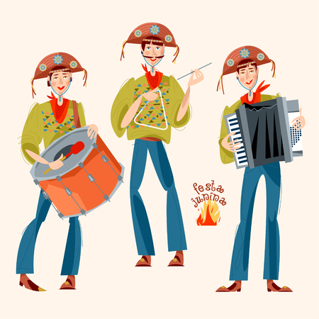 Brazilian holiday Festa Junina (the June party). Trio de Forró (a trio of musicians playing an accordion, a bass drum and a triangle). Vector illustration Illustration