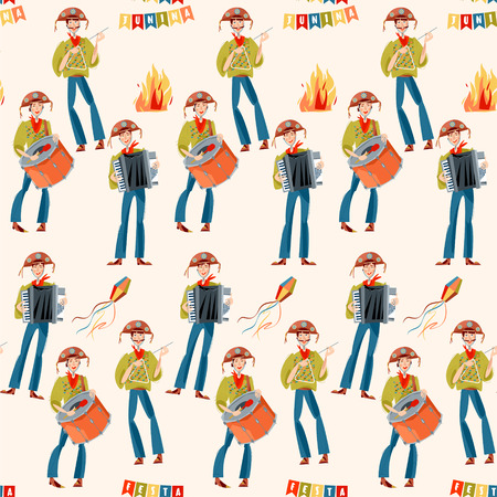 Brazilian holiday Festa Junina (the June party). Trio de Forró (a trio of musicians playing an accordion, a bass drum and a triangle). Seamless background pattern. Vector illustration Illustration