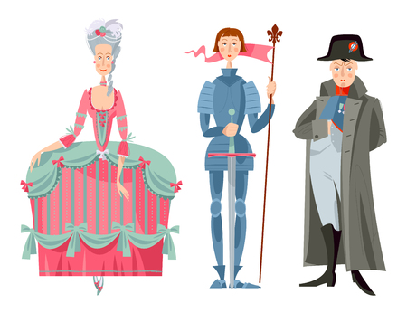 History of France. Queen Marie Antoinette, Jeanne d'Arc (Joan of Arc), Napoleon Bonaparte. Vector illustration.