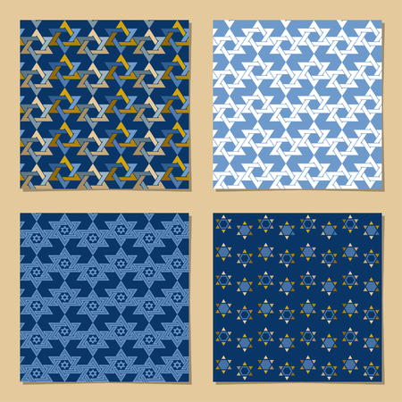 Set of universal backgrounds with Star of David. Template. Vector illustration Vettoriali