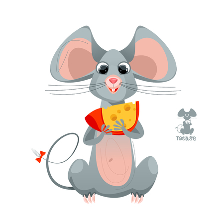 Funny mouse holding in the paws a piece of cheese. Vector illustration Illustration
