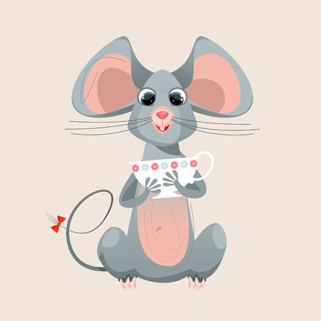 Funny mouse holding in the paws a cup. Vector illustration