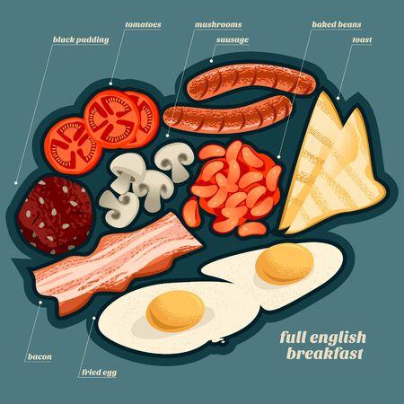 Full english breakfast ingredients. Vector illustration Ilustração