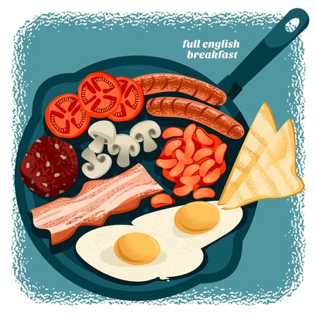 El desayuno inglés completo incluye huevo frito, frijoles, tomates, champiñones, tocino, morcilla y tostadas. Ilustración vectorial