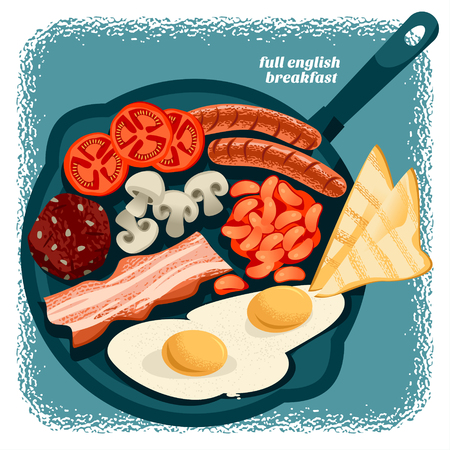 Full english breakfast includes Fried egg, beans, tomatoes, mushrooms, bacon, black pudding and toast. Vector illustration Illustration