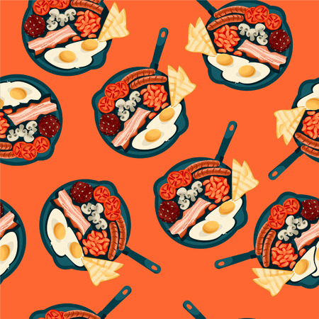 Full english breakfast in seamless background pattern. Illustration