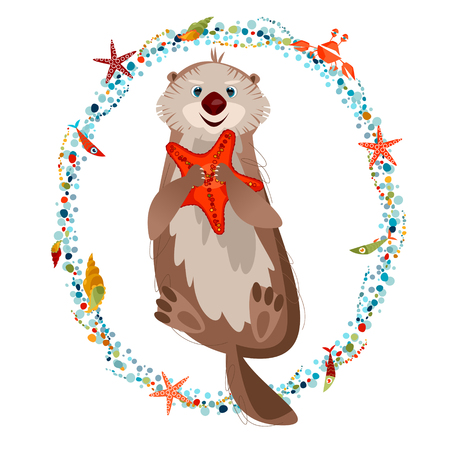 Smiling sea otter holding a starfish in paws. Vector illustration