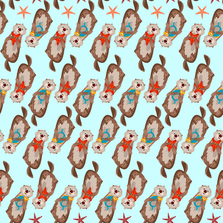 Smiling sea otters holding a fish and starfish in paws. Seamless background pattern. Vector illustration Illustration