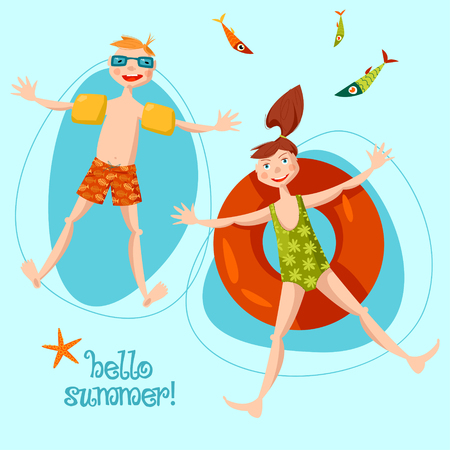 Boy wearing inflatable armbands and girl with a float rubber safety ring swimming in the sea. Hello summer! Vector illustration. Illustration