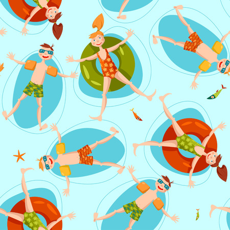 Boy wearing inflatable armbands and girl with a float rubber safety ring swimming in the sea. Summer. Seamless background pattern.