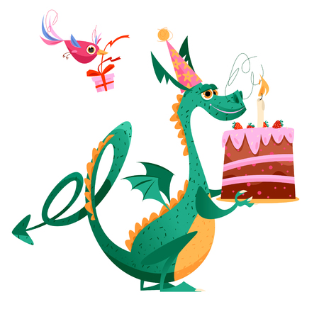 Bird and flying dragon with gift, flower and a birthday cake. Happy birthday!  Vector illustration Illustration