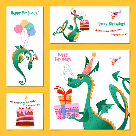 Set of 4 universal cards with dragon. Template. Happy birthday! Children's party, congratulations. Vector illustration  Ilustração