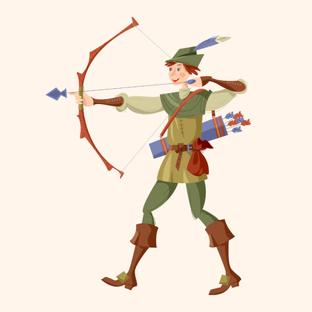 Young man in medieval costume, shooting a bow and arrow. Robin Hood. Vector illustration