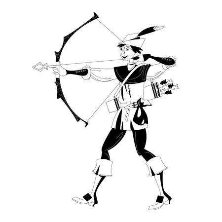 Young man in medieval costume, shooting a bow and arrow. Robin Hood. Black and white. Vector illustration. Illustration