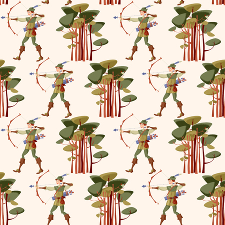 Young man in medieval costume, shooting a bow and arrow. Robin Hood. Seamless background pattern. Vector illustration
