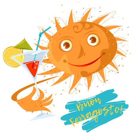 Smiling sun with a drink in a glass. Summer. Ferragosto (Italian holiday celebrated on August 15). Vector illustration Foto de archivo - 102982263