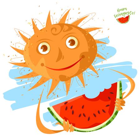 Smiling sun with a watermelon. Summer. Ferragosto (Italian holiday celebrated on August 15). Vector illustration Foto de archivo - 102976320