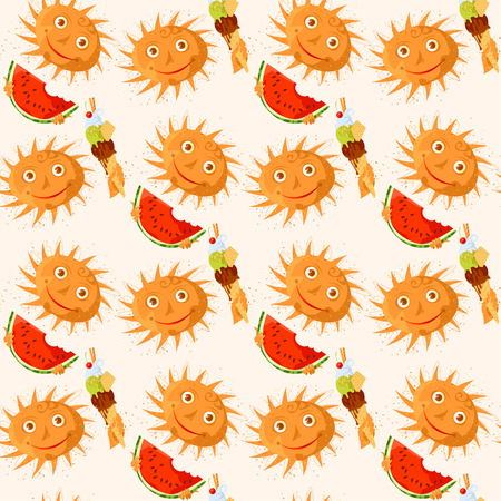 Smiling suns with a ice cream and watermelon. Summer. Ferragosto (Italian holiday celebrated on August 15). Vector illustration Stock Illustratie