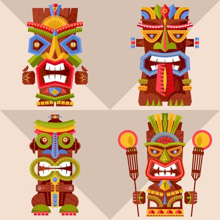 Set of 4 multi-colored tiki totem poles. Hawaii. Vector illustration