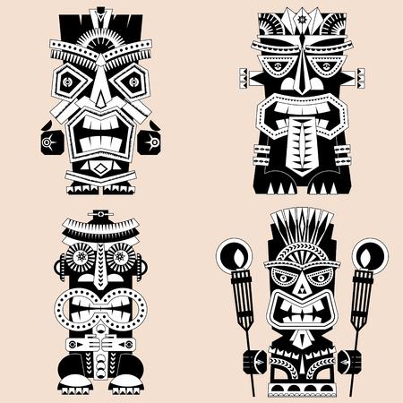 Set of 4 tiki totem poles. Hawaii. Black and white. Vector illustration.