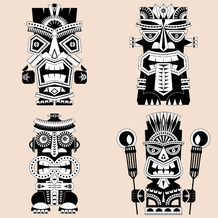 Set of 4 tiki totem poles. Hawaii. Black and white. Vector illustration.